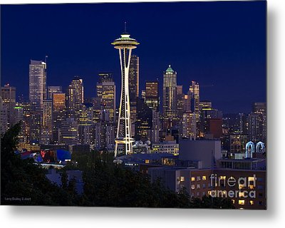 Seattle At Night Metal Print