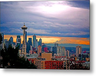 Seattle At Sunset Metal Print by Elaine Plesser