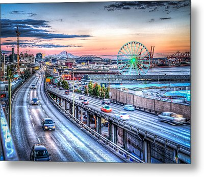 Seattle At Twilight Metal Print