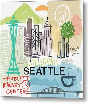 Seattle Cityscape- Art By Linda Woods Metal Print by Linda Woods