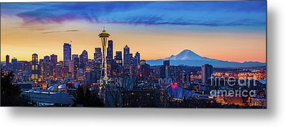 Seattle Dawn Panorama Metal Print by Inge Johnsson