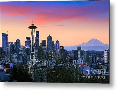 Seattle Waking Up Metal Print by Inge Johnsson