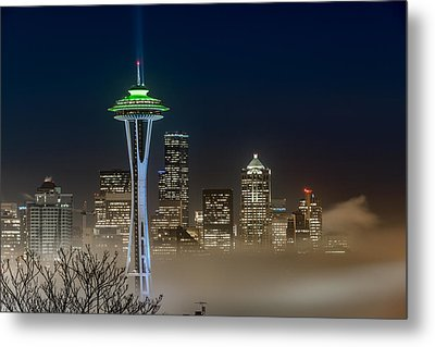 Seattle Foggy Night Lights Metal Print