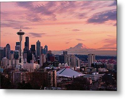 Seattle In Pink Metal Print by Aaron Eakin