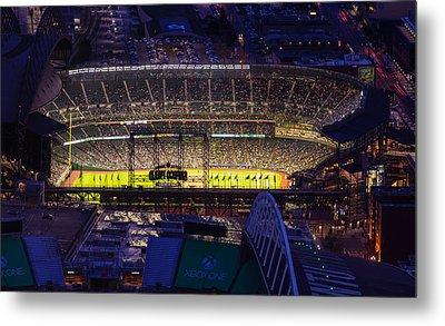 Seattle Mariners Safeco Field Night Game Metal Print by Mike Reid