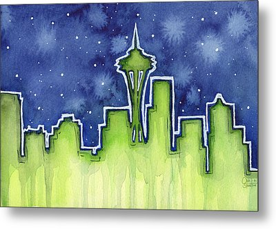 Seattle Night Sky Watercolor Metal Print by Olga Shvartsur