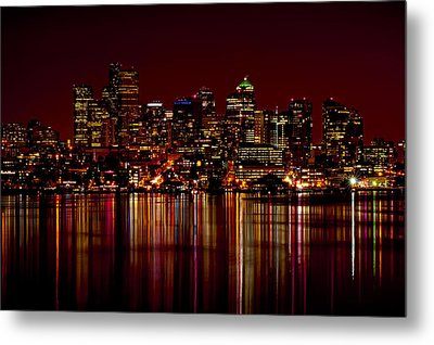 Seattle Nightscape Metal Print by Rich Leighton