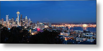 Seattle Panorama At Twilight Metal Print