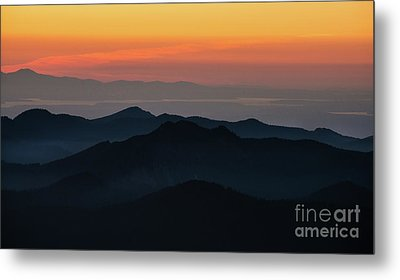 Seattle Puget Sound And The Olympics Sunset Layers Landscape Metal Print by Mike Reid