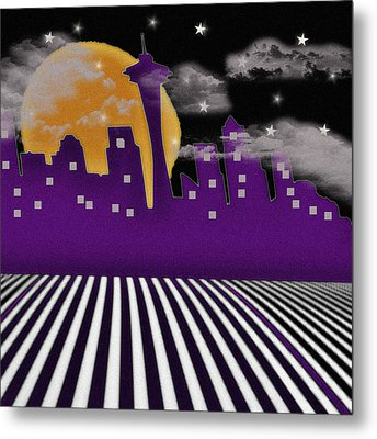 Metal Print featuring the digital art Seattle Skyline by Digital Art Cafe
