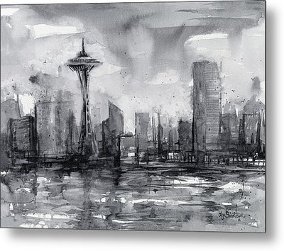 Seattle Skyline Painting Watercolor  Metal Print by Olga Shvartsur