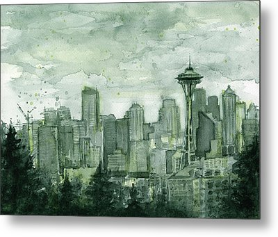 Seattle Skyline Watercolor Space Needle Metal Print by Olga Shvartsur