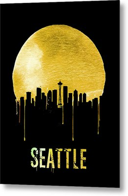 Seattle Skyline Yellow Metal Print by Naxart Studio