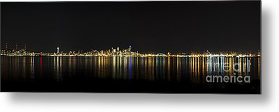 Seattle Washington Skyline From Alki Seacrest Park At 10mm Metal Print by Patrick Fennell
