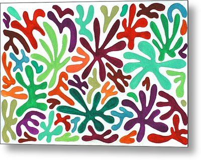 Seaweed Splash Colorful Abstract Gouache Painting Green Red Orange Brown Blue Metal Print by Wendy Middlemass