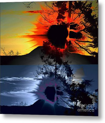 Sechelt Tree Sun And Moon Metal Print