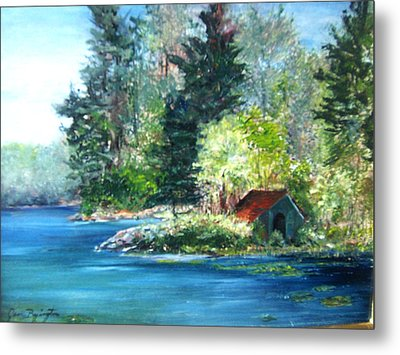 Secluded Boathouse-millsite Lake  Metal Print