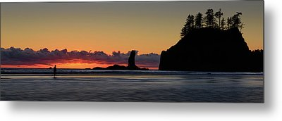 Metal Print featuring the photograph Second Beach Silhouettes by Dan Mihai