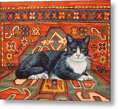 Second Carpet Cat Patch Metal Print