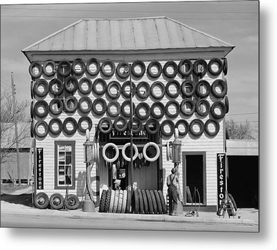 Secondhand Tires Displayed For Sale Metal Print by Everett