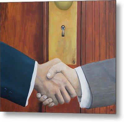 Secret Handshake Metal Print by Patrick Kelly