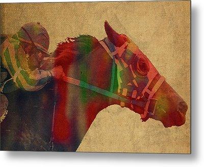Secretariat Horse Race Watercolor Portrait Metal Print