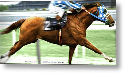 Secretariat Is Widening The Lead Now,  Painting Belmont Stakes  Metal Print by Thomas Pollart