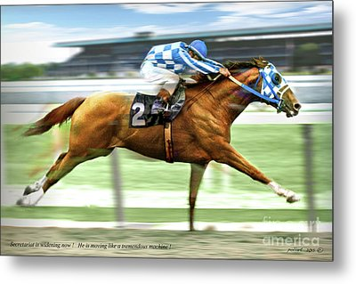 Secretariat On The Back Stretch At The Belmont Stakes Metal Print