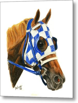 Secretariat With Blinkers Metal Print