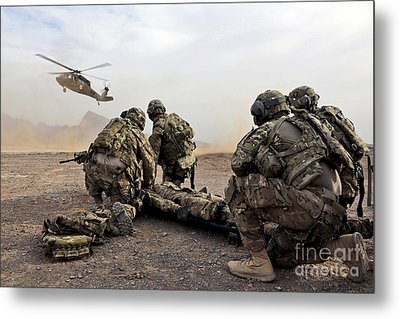Security Force Team Members Wait Metal Print by Stocktrek Images