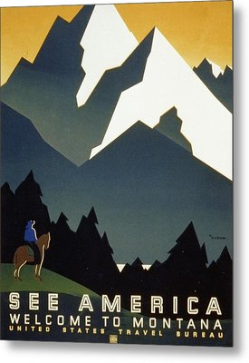See America Welcome To Montana Metal Print by M Weitzman