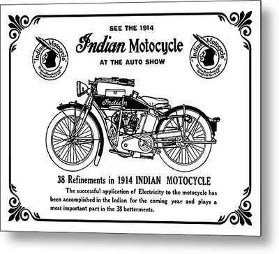 Metal Print featuring the mixed media See New 1914 Indian Motocycle At The Auto Show by Daniel Hagerman