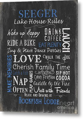 Seeger Lake House Rules Metal Print