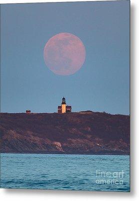 Seguin Island Lighthouse Ghost Moon Metal Print