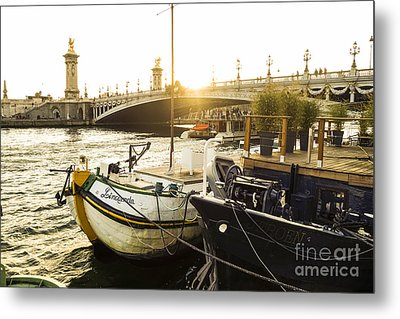 Seine River With Barges And Boats, Pont De Alexandre Bridge Behind, Paris France. Metal Print by Perry Van Munster