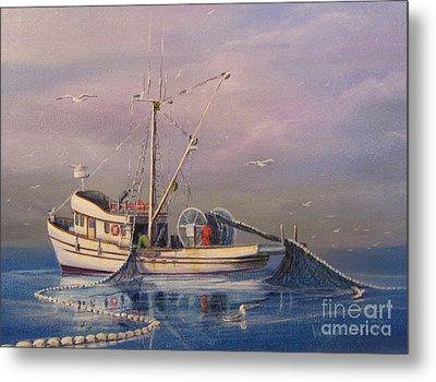 Seiner Fishing Salmon Metal Print by Wayne Enslow