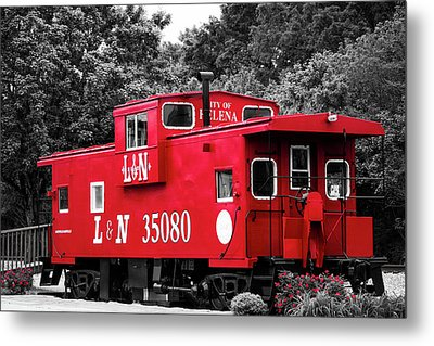 Metal Print featuring the photograph Selective Color Red Caboose by Parker Cunningham