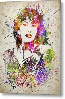 Selena Quintanilla In Color Metal Print by Aged Pixel
