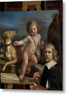 Self-portrait Before A Painting Of Amor Fedele Metal Print by Giovanni Francesco Barbieri - Called Guercino