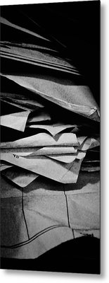 Self Portrait In A Pile Of Paper Metal Print by Brian Sereda