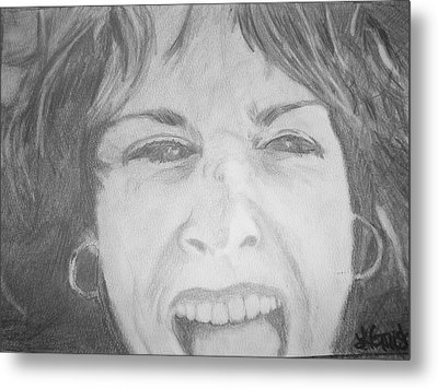 Metal Print featuring the drawing Self Portrait by Laura  Grisham