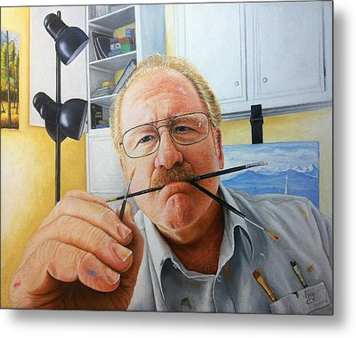 Metal Print featuring the painting Self Portrait by Mike Ivey