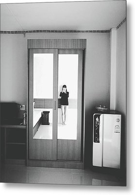 Self Portrait On Mirror Wardrobe Metal Print