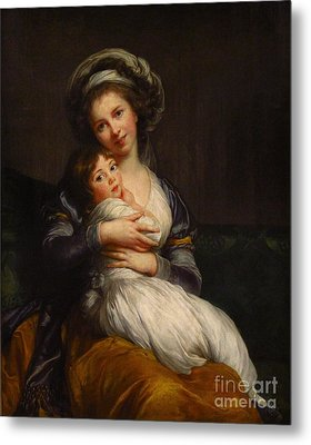 Self-portrait With Her Daughter Jeanne-lucie Metal Print by Celestial Images