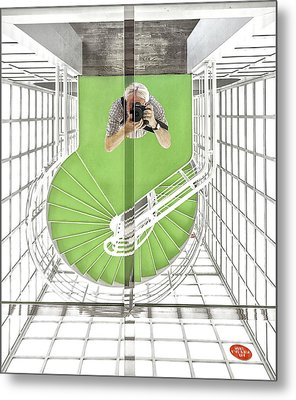 Selfie In The Cinematheque Metal Print by Herbert A. Franke