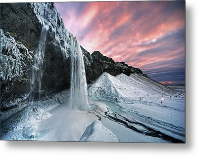 Seljalandsfoss Sunset Metal Print by Traumlichtfabrik