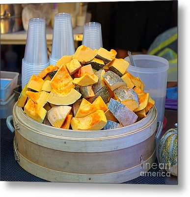 Metal Print featuring the photograph Selling Fresh Pumpkin Shakes by Yali Shi