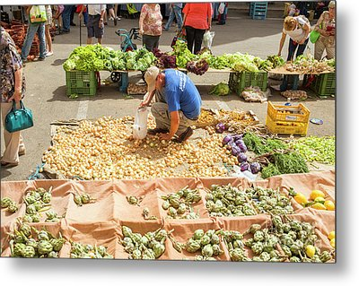 Selling Onions On A Market Metal Print by Patricia Hofmeester