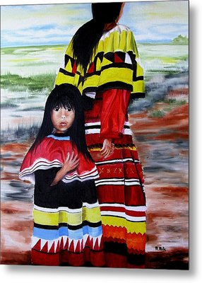 Seminole Mother And Child Metal Print