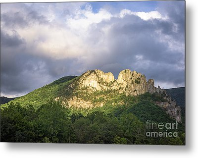 Seneca Rocks With Clouds Metal Print by Dr Regina E Schulte-Ladbeck